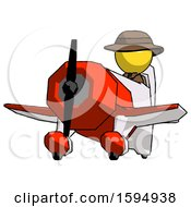 Yellow Detective Man Flying In Geebee Stunt Plane Viewed From Below