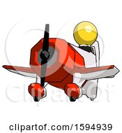 Yellow Clergy Man Flying In Geebee Stunt Plane Viewed From Below