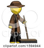 Yellow Detective Man Standing With Industrial Broom