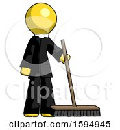 Yellow Clergy Man Standing With Industrial Broom
