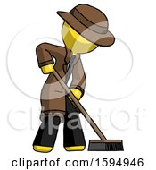 Yellow Detective Man Cleaning Services Janitor Sweeping Side View