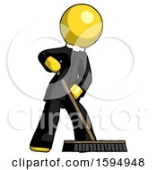 Yellow Clergy Man Cleaning Services Janitor Sweeping Floor With Push Broom