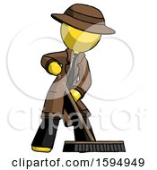 Yellow Detective Man Cleaning Services Janitor Sweeping Floor With Push Broom
