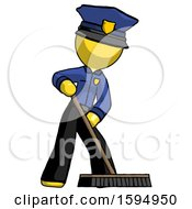 Yellow Police Man Cleaning Services Janitor Sweeping Floor With Push Broom