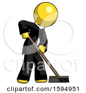 Yellow Clergy Man Cleaning Services Janitor Sweeping Side View