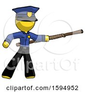 Yellow Police Man Bo Staff Pointing Right Kung Fu Pose