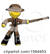 Yellow Detective Man Bo Staff Pointing Right Kung Fu Pose
