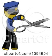 Yellow Police Man Holding Giant Scissors Cutting Out Something