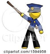 Yellow Police Man Bo Staff Pointing Up Pose