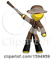 Yellow Detective Man Bo Staff Pointing Up Pose