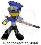 Yellow Police Man Bo Staff Action Hero Kung Fu Pose