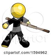 Yellow Clergy Man Bo Staff Action Hero Kung Fu Pose