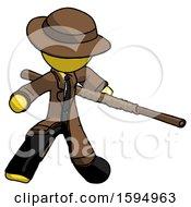 Yellow Detective Man Bo Staff Action Hero Kung Fu Pose