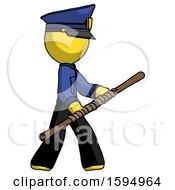 Yellow Police Man Holding Bo Staff In Sideways Defense Pose
