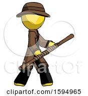 Yellow Detective Man Holding Bo Staff In Sideways Defense Pose