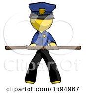 Yellow Police Man Bo Staff Kung Fu Defense Pose