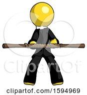 Yellow Clergy Man Bo Staff Kung Fu Defense Pose