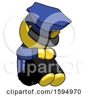 Yellow Police Man Sitting With Head Down Facing Angle Right