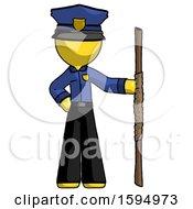 Yellow Police Man Holding Staff Or Bo Staff