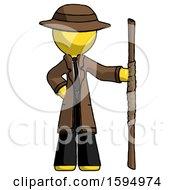 Yellow Detective Man Holding Staff Or Bo Staff