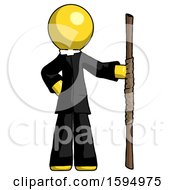 Yellow Clergy Man Holding Staff Or Bo Staff