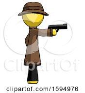 Yellow Detective Man Firing A Handgun