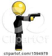 Yellow Clergy Man Firing A Handgun