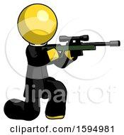 Yellow Clergy Man Kneeling Shooting Sniper Rifle