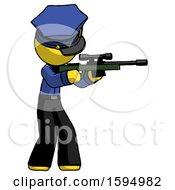 Yellow Police Man Shooting Sniper Rifle