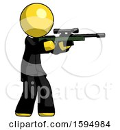 Yellow Clergy Man Shooting Sniper Rifle