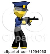 Yellow Police Man Shooting Automatic Assault Weapon