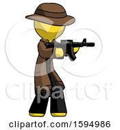 Yellow Detective Man Shooting Automatic Assault Weapon