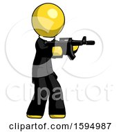 Yellow Clergy Man Shooting Automatic Assault Weapon