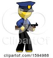 Yellow Police Man Tommy Gun Gangster Shooting Pose