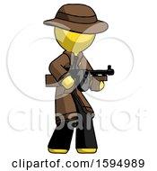 Yellow Detective Man Tommy Gun Gangster Shooting Pose