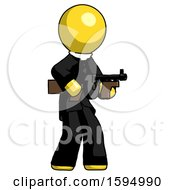 Yellow Clergy Man Tommy Gun Gangster Shooting Pose