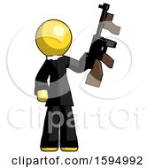 Yellow Clergy Man Holding Tommygun