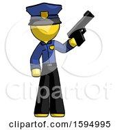 Yellow Police Man Holding Handgun
