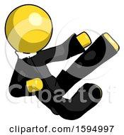 Yellow Clergy Man Flying Ninja Kick Right