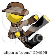 Yellow Detective Man Flying Ninja Kick Right