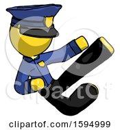 Yellow Police Man Flying Ninja Kick Right