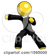 Yellow Clergy Man Martial Arts Punch Left