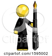 Yellow Clergy Man Holding Giant Calligraphy Pen