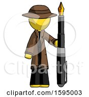 Poster, Art Print Of Yellow Detective Man Holding Giant Calligraphy Pen