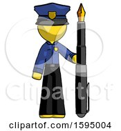 Poster, Art Print Of Yellow Police Man Holding Giant Calligraphy Pen