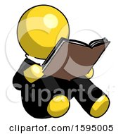 Poster, Art Print Of Yellow Clergy Man Reading Book While Sitting Down