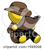 Poster, Art Print Of Yellow Detective Man Reading Book While Sitting Down