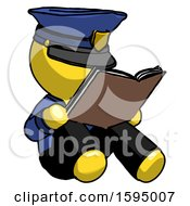 Poster, Art Print Of Yellow Police Man Reading Book While Sitting Down