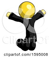 Yellow Clergy Man Jumping Or Kneeling With Gladness
