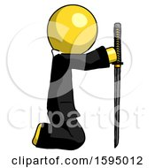 Yellow Clergy Man Kneeling With Ninja Sword Katana Showing Respect